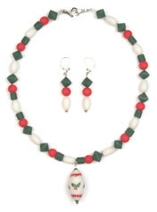 Beaded Holiday Necklace and Earrings