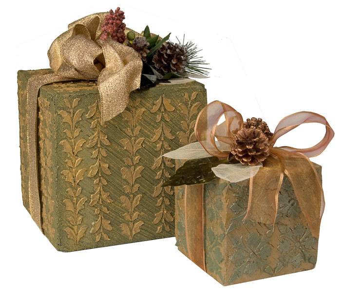 Textured Holiday Gift Box Decor
