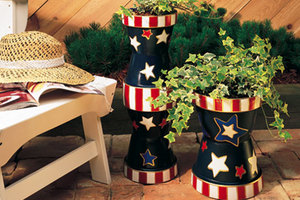 Painted Stars and Stripes Planter