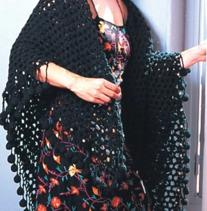 Black Mesh Shawl