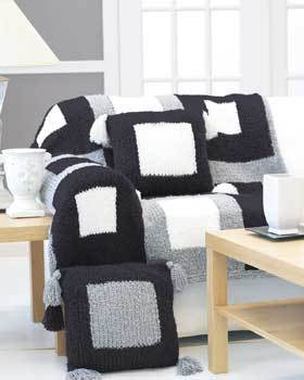 Black and White Afghan and Pillow Set
