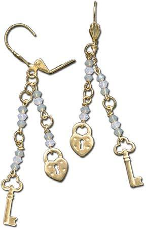 Heart Lock and Key Earrings