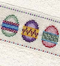 Easter Egg Cross Stitch Towel