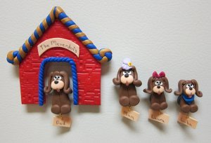 Dog House Clay Magnets