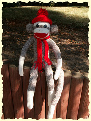 Knit Sock Monkey Hat and Scarf