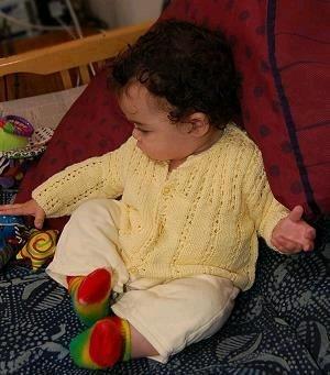 ec74c06fb2b Eyelet Ribbed Baby Cardigan | AllFreeKnitting.com