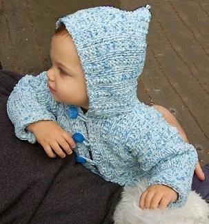 Baby Hoodie Knitting Pattern Free : Eyelet Ribbed Baby Cardigan AllFreeKnitting.com