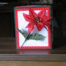 Poinsettia and Stars Tissue Box Cover