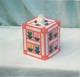 Window Frame of Flowers Tissue Box Cover