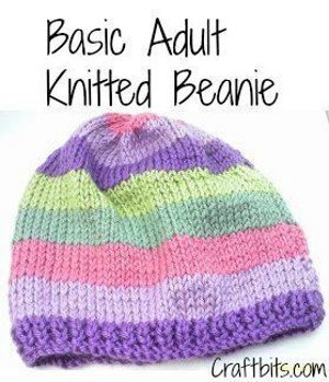 Knitting Patterns For Beginners Beanie : Basic Adults Knitted Beanie AllFreeKnitting.com