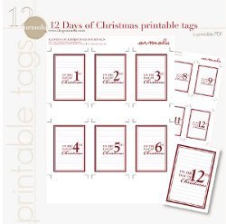 graphic relating to 12 Days of Christmas Printable titled 12 Times of Xmas Printable Tags