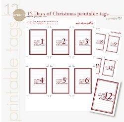 graphic relating to 12 Days of Christmas Printable titled 12 Times of Xmas Printable Tags