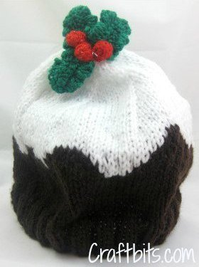 Adult Beanie Christmas Plum Pudding | AllFreeKnitting.com