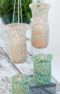 Fun Crocheted Hanging Luminaries