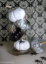 Black White and Glitter Pumpkin Centerpiece