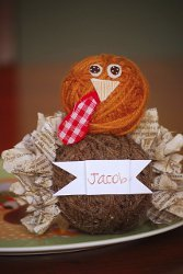 Yarn Ball Turkey Placecard