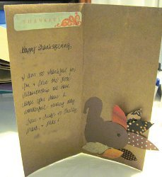 Grocery Bag Into Cute Turkey Card