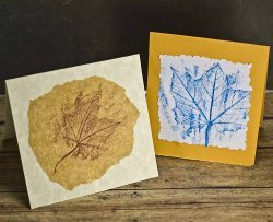 Rubbed Leaf Thank You Cards