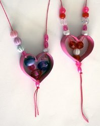 Cardboard Tube Heart Necklaces