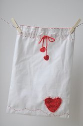Crochet Heart Drawstring Bag