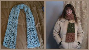 Crochet Lace Shell Scarf