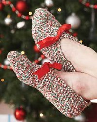 Easy Holiday Knit Slippers