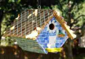Mixed STAINED GLASS Mosaic Birdhouse with a HEART Love ceramic tile