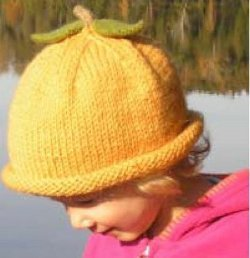 Toddler's Knit Pumpkin Hat