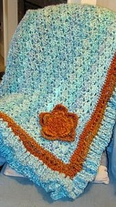 Turquoise and Orange Afghan