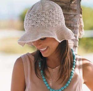 98609bde44b With this free crochet hat pattern you can make a Natural Colored Floppy Brim  Hat. Wear your new hat to the beach while keeping the sun out of your eyes.