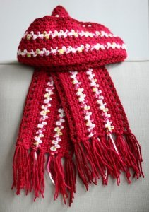 Crocheted Striped Scarf with Railroad Border