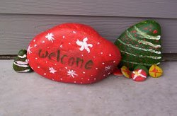Painted Welcome Rocks for Christmas