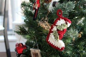 RTS Set of 6 Mini Granny Square Stocking Christmas Ornaments Christmas Stocking Tree Ornaments Christmas Tree Ornaments Traditional Ornament