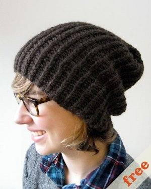 Knitting Patterns Free Slouchy Hat : Simple Slouchy Hat AllFreeKnitting.com