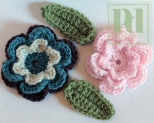 Crochet Flower with Leaves