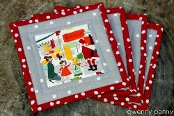 Fussy Cut Christmas Shopping Coasters