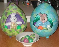 Paper Mache Easter Egg Displays