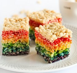 Rainbow Bites Rice Krispies Squares