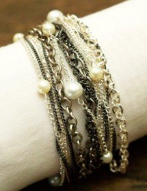 Pearl and Chain Multi-Strand Bracelet