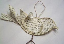 Baby Bird Book Page Ornament