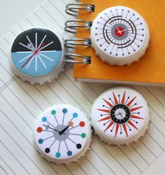 Cool Clock Bottle Cap Magnets