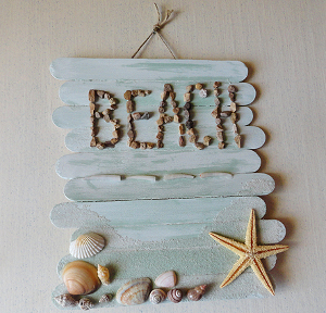 Popsicle Stick Beach Sign