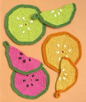 Free Knit Potholder Patterns : Summer Fruit Pot Holders AllFreeKnitting.com