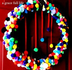 Cute and Colorful Pom Pom Wreath