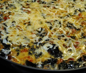 Crazy Flat Frittata with Sun Dried Tomato, Roasted Peppers and Kale