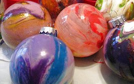 Swirled Paint Glass Ball Ornaments