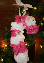 Tissue Paper Candy Cane Ornaments