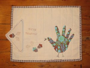 Handprint turkey applique quilted placemats favequilts