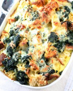 Gruyere and Spinach Strata