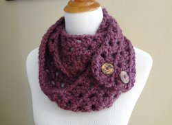 Plum Button Scarf